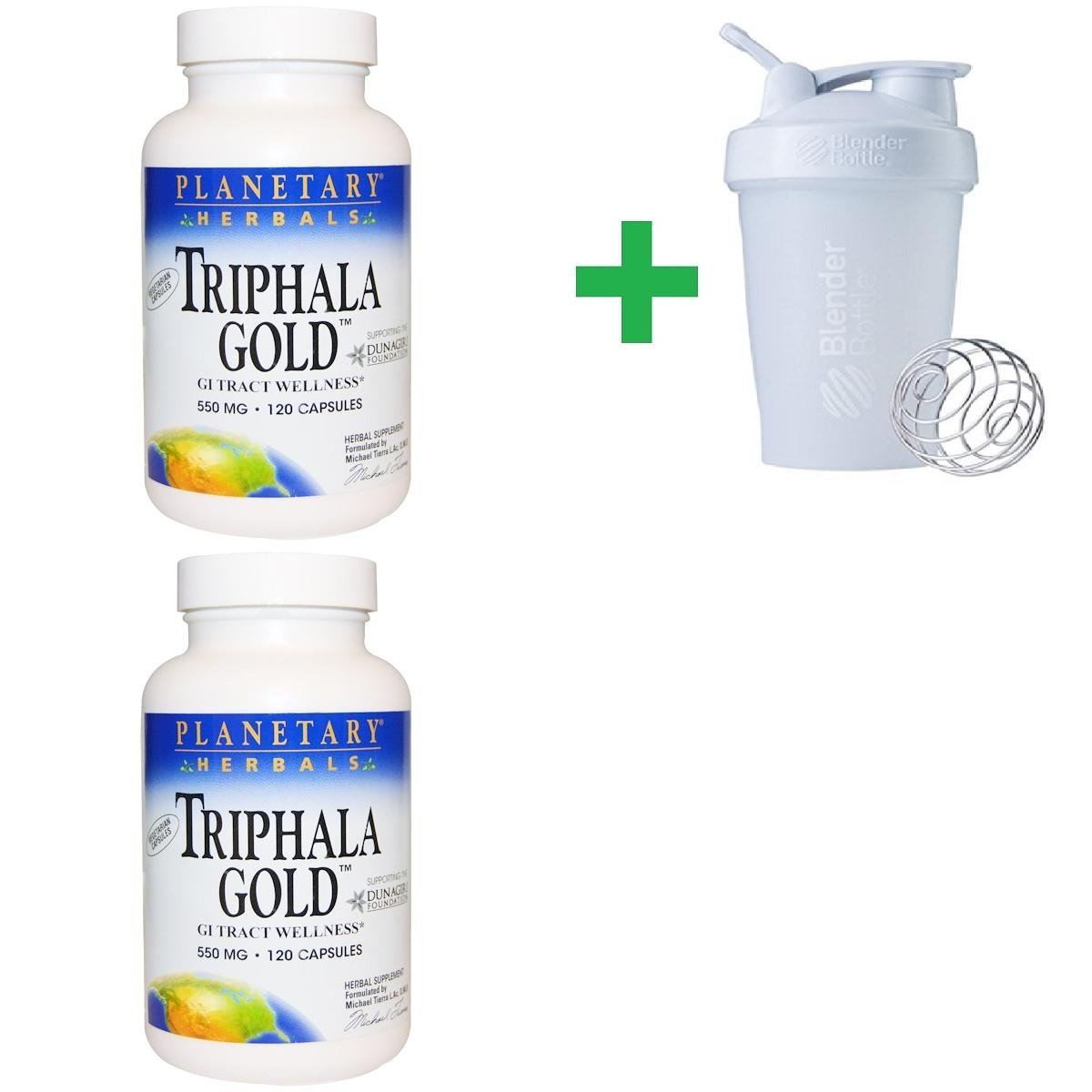 Planetary Herbals, Triphala Gold, GI Tract Wellness, 550 mg, 120 Capsules(2 PCS)+ Assorted Sundesa, BlenderBottle, Classic with Loop, 20 oz