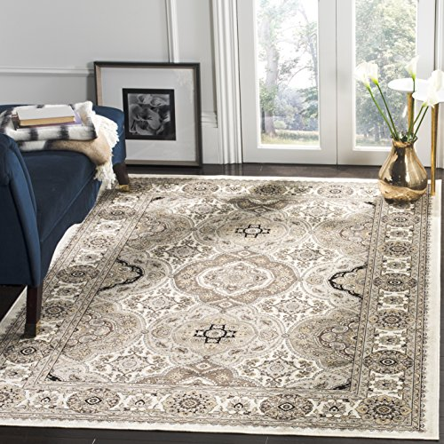 Safavieh Atlas Collection ATL675C Taupe and Ivory Oriental Viscose Area Rug (8' x - Atlas Collection