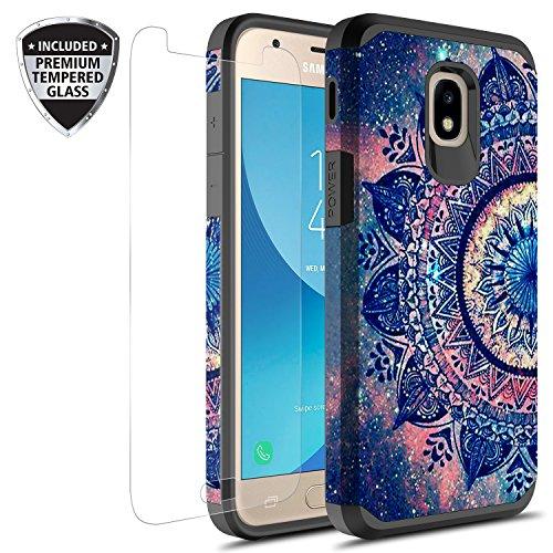 Samsung Galaxy J7 V 2nd Gen/J7 Refine/J7 Top/J7 Star/J7 Aura/J7 2018 Case w/ Tempered Glass Screen Protector, Rosebono Hybrid Graphic Colorful Armor Case for SM-J737 (Mandala)