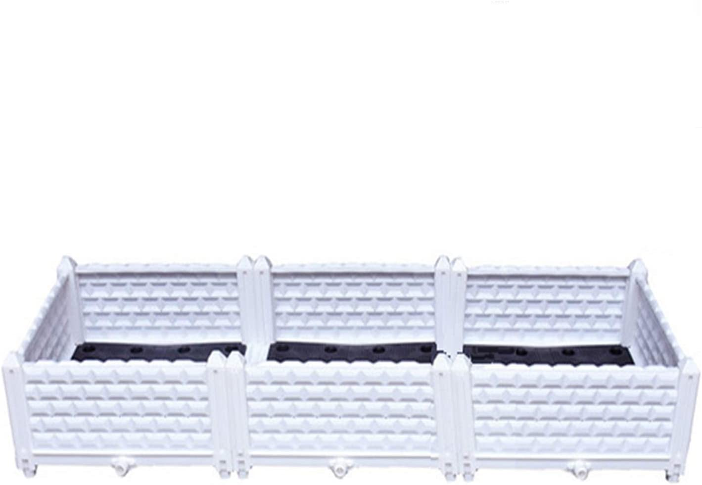 Geeaoo Raised Garden Bed 47.2 x 15.7 x 8.6 inch Plastic Garden Box 3 Plastic Plant Containers Grow Vegetables Herbs Plants Flowers Indoor Outdoor White