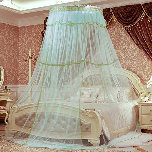 SINOTOP Mosquito Canopy for Queen Bed Double Bed Round Bet Netting Suspend Canopy Bed Mosquito Crib (Light Blue)