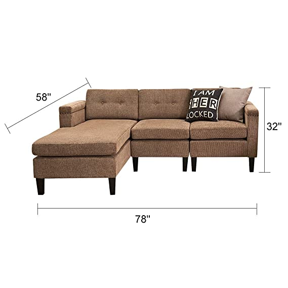 Amazon.com: Juego de sofá de tela con tachuelas de cromo ...