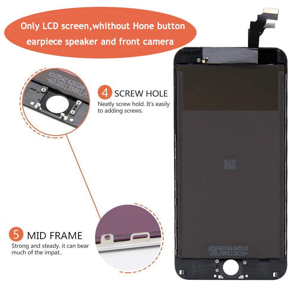 Screen Replacement LCD Display 3D Touch Screen Digitizer for iPhone 6 Plus 5.5 inch Black Frame Assembly Set with Repair Tools by i DIY (Image #4)