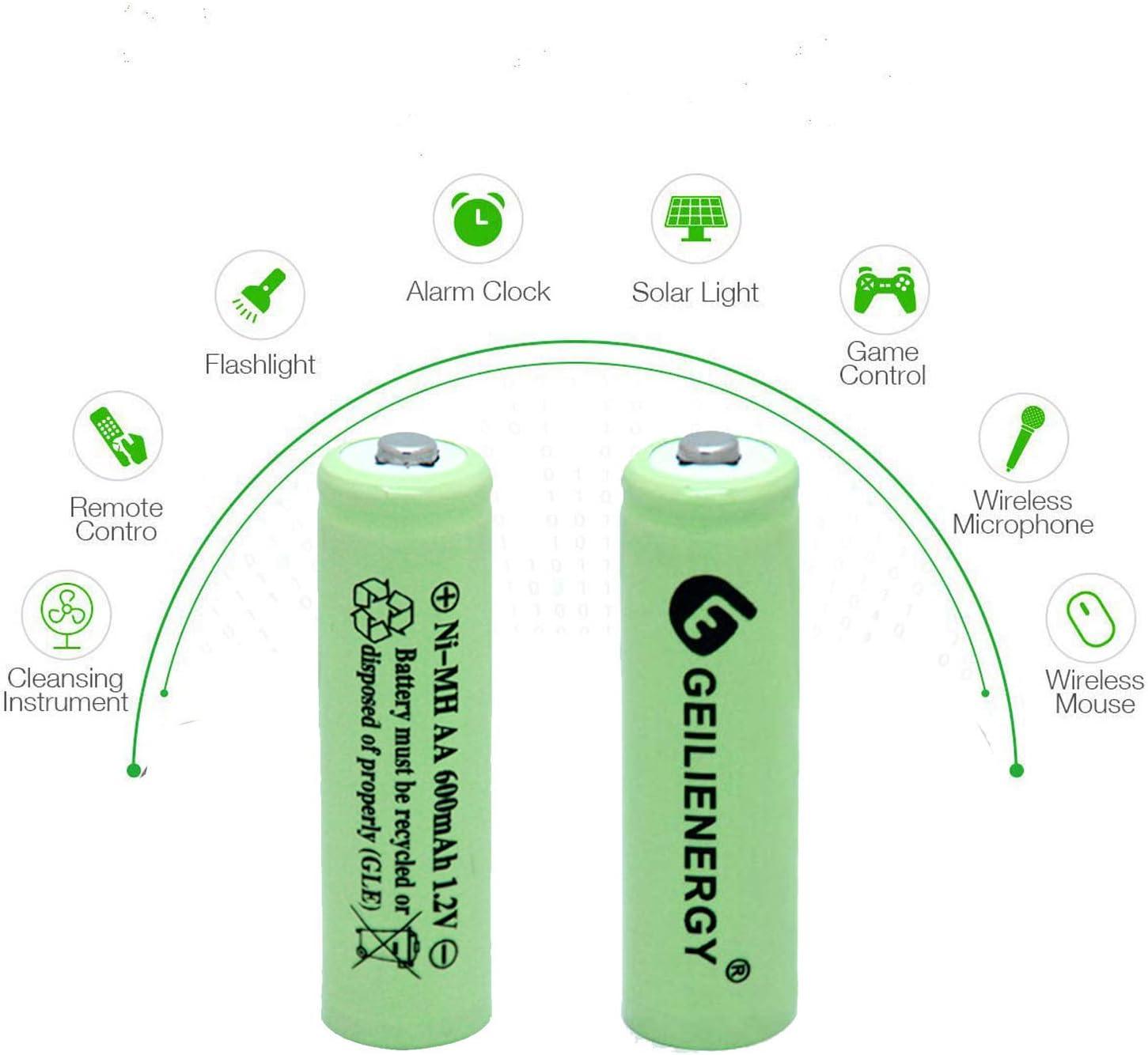 BAOBIAN AA 600mAh 1.2V NiMH Rechargeable Batteries for Solar Light,Solar Lamp,Garden Lights Green 20 PCS