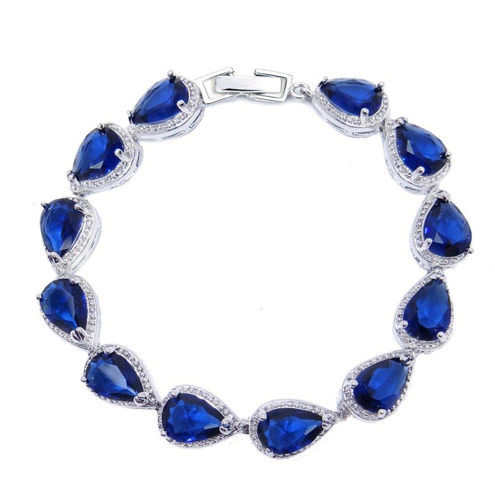SELOVO Sapphire Color Dark Navy Blue Stone Teardrop Link Tennis Bracelet for Women Silver Tone