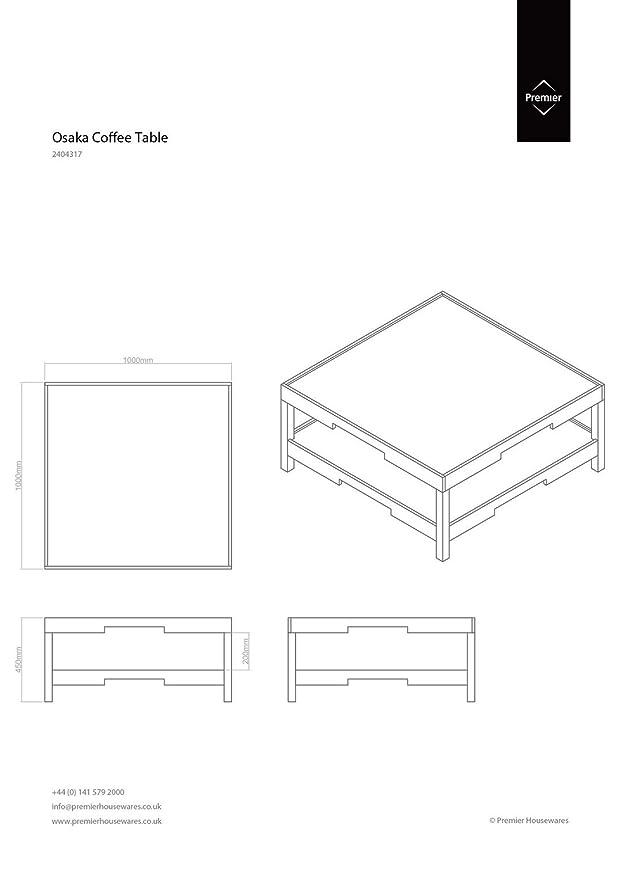 Kendalls Protege Homeware Black MDF Shelf Osaka Coffee Table Amazon - Osaka coffee table