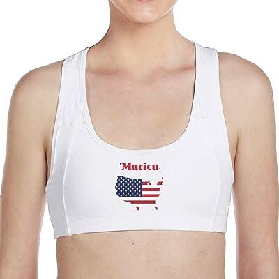 American Flag Women Racerback Sports Bras High Impact Workout Gym Activewear Bra