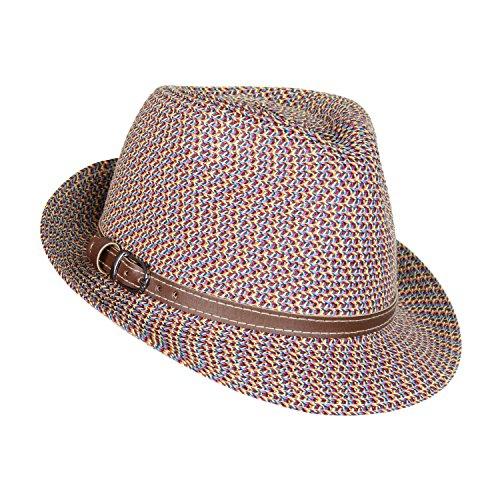 HatQuarters Straw Panama Hat, Tweed Festival Fedora With Faux Leather hatband, Packable (Multi Colored Tweed) Pinch Front Straw