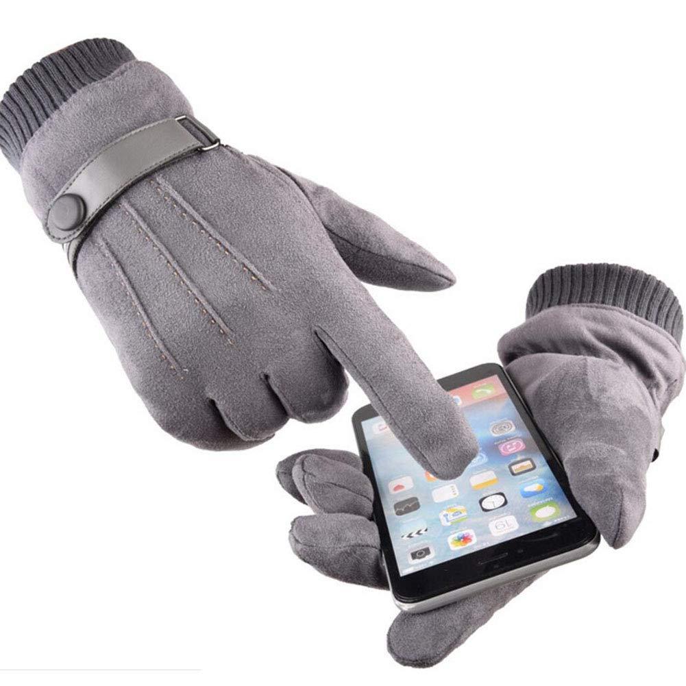 Touch Screen Guanti in Pelle Camoscio Termici Vello Antiscivolo Elastico Apertura a Maglia Uomo Invernali da Esterno LA000021