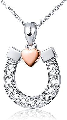 DAOCHONG Bijoux en Argent avec Pendentif Coeur en Forme de Fer /à Cheval Porte-Bonheur