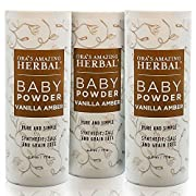 Natural Baby Powder 2.5 ounces (pack of 3) No Talc Corn Gluten Grains Or Any Synthetic Ingredients Ora's Amazing Herbal (Vanilla Amber)