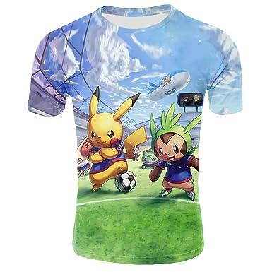 Unisex Pokemon de Manga Corta en el Campo de fútbol 3D ...