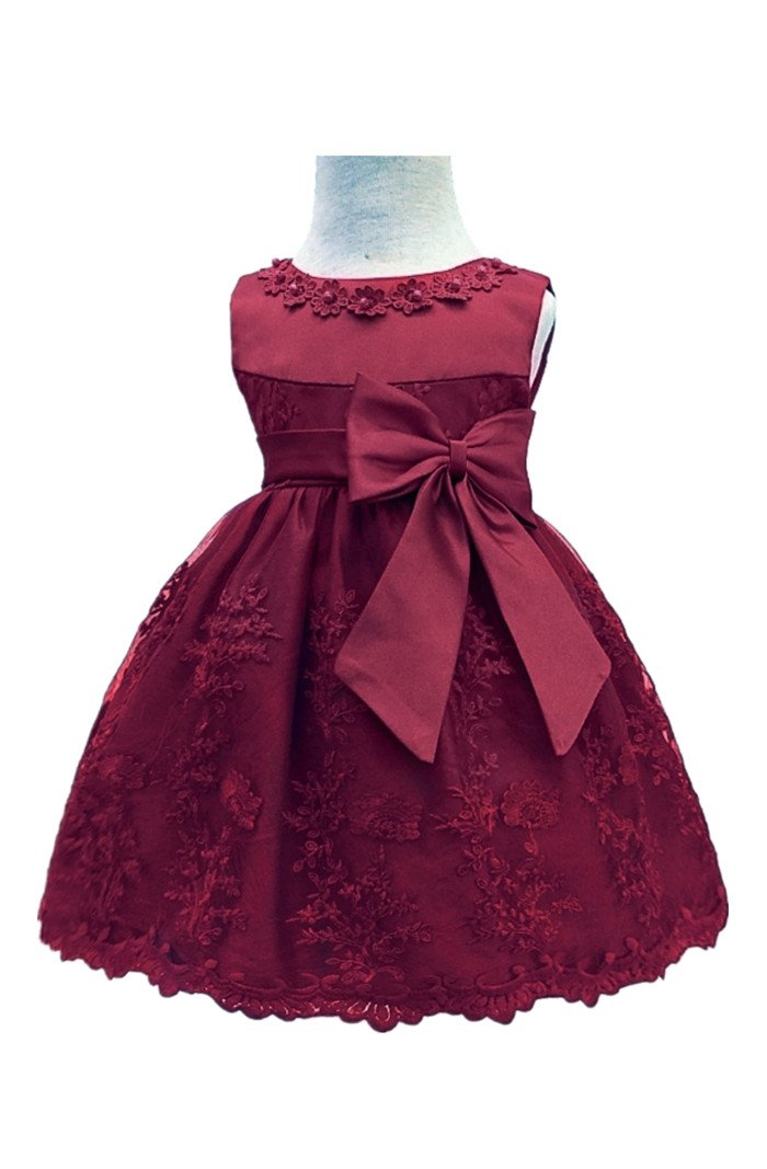 HX Baby Girl's Newborn Bowknot Gauze Christening Baptism Dress Infant Flower Girls Wedding Dresses 13 Color (6M/6-9 Months, Wine Red)