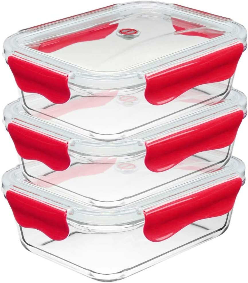 ICONYC Glass Food Storage Container with Tritan Lids(1050mL / 35oz) (Set of 3)- BPA Free Glass Meal Prep Container Set| Eco-Friendly Glass Containers for Home Kitchen & Restaurant (Red)
