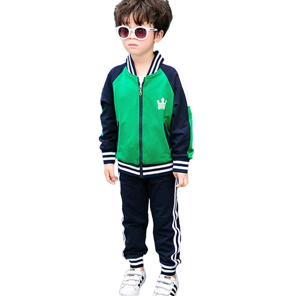 OnlyAngel Boys Tracksuit Striped Green Zipper Jacket & Elastic Waist Pant Age 3-10 (5-6 Years, Green) by OnlyAngel