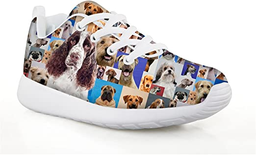 Pet Animal Designs Basset Hound On Black-Kids Running Shoes