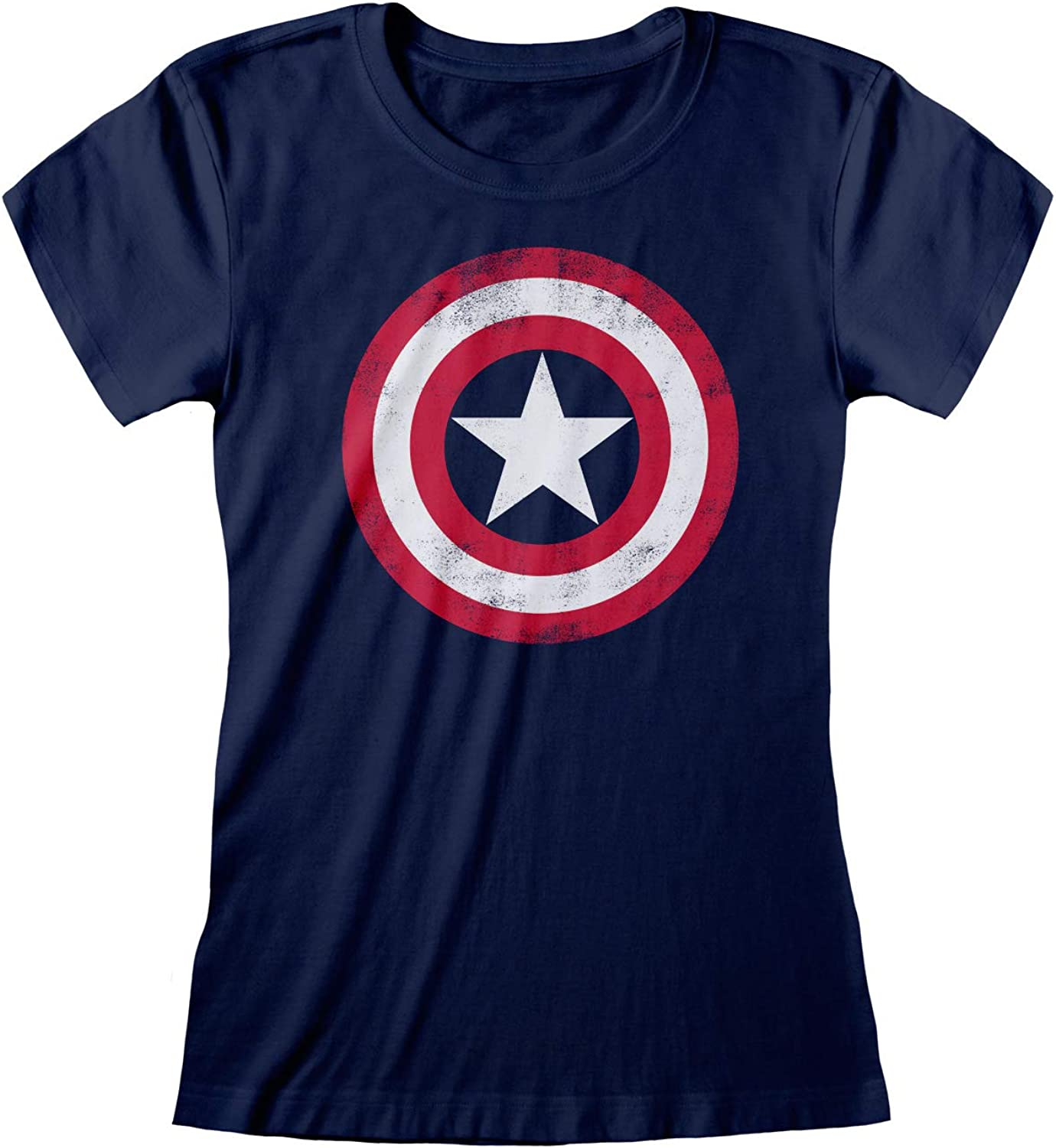 Mum Daughter Sister Gift Idea Official Merchandise Marvel Avengers Assemble Captain America Distressed Shield Womens Fitted T-Shirt Birthday Gifts Ladies Fashion Slim Fitting Top S-XXL