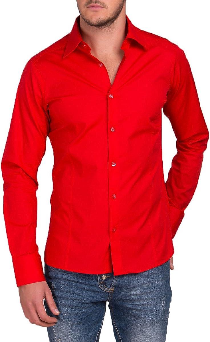 Camisa para hombre manga larga, para trajes, tiempo libre, bodas, modelo estándar Slim Fit: Amazon.es: Ropa y accesorios