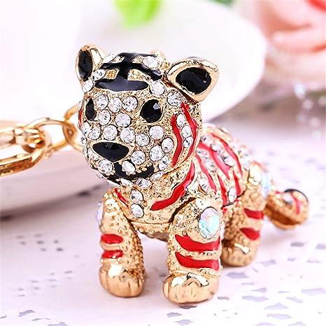 Amazon.com: Bonito llavero con diseño de tigre brillante con ...