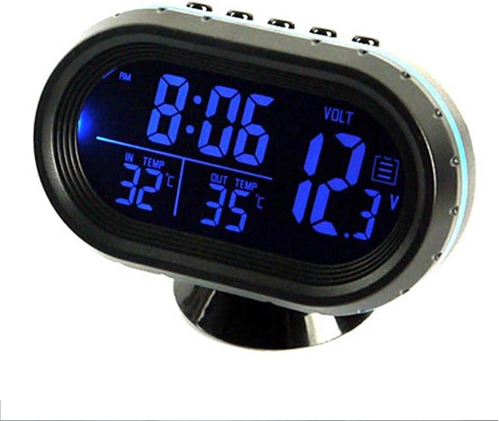 24/V Thermom/ètre digital Voltm/ètre moniteur LCD Alarme Horloge temps LED Maso universel 12 Bleu//rouge