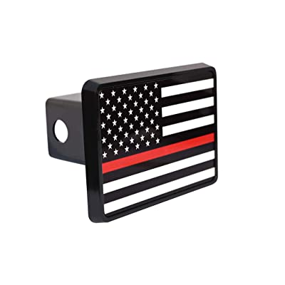 Rogue River Tactical Thin Red Line Flag Trailer Hitch Cover Plug US Firefighter Fire Fighter Truck Department FD: Automotive