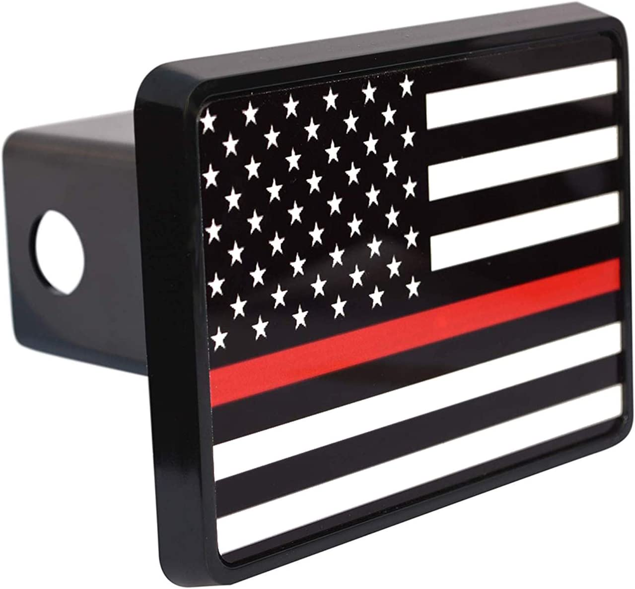 Rogue River Tactical Thin Red Line Flag Trailer Hitch Cover Plug US Firefighter Fire Fighter Truck Department FD