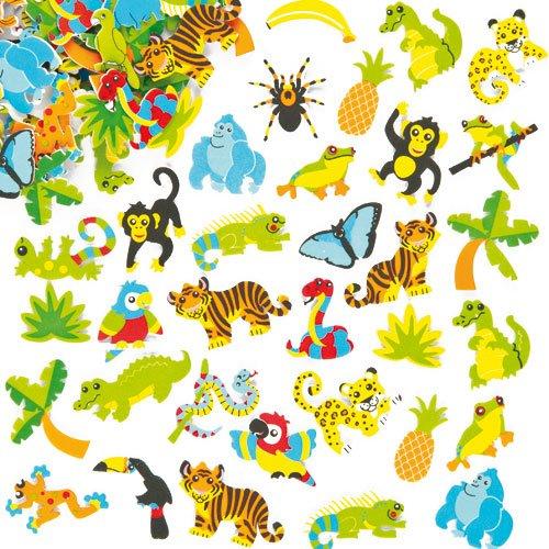 Pegatinas de Espuma con Diseños de la Selva para Decorar Tarjetas, Cuadernos, Manualidades y Collages Infantiles (Pack de 100) Baker Ross