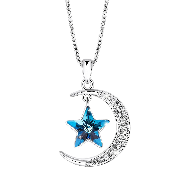 SIVERY Luna y Estrellas Moda Joyas Collar con Colgante con Elementos de