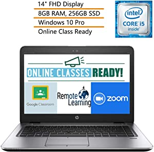 """HP EliteBook 840 G3 14"""" FHD Business Laptop Computer Intel Core i5-6300U up to 3.0GHz, 8GB DDR4 RAM, 256GB SSD, Windows 10 Professional, iPuzzle Mouse Pad, Webcam, Microphone, Online Class Ready"""