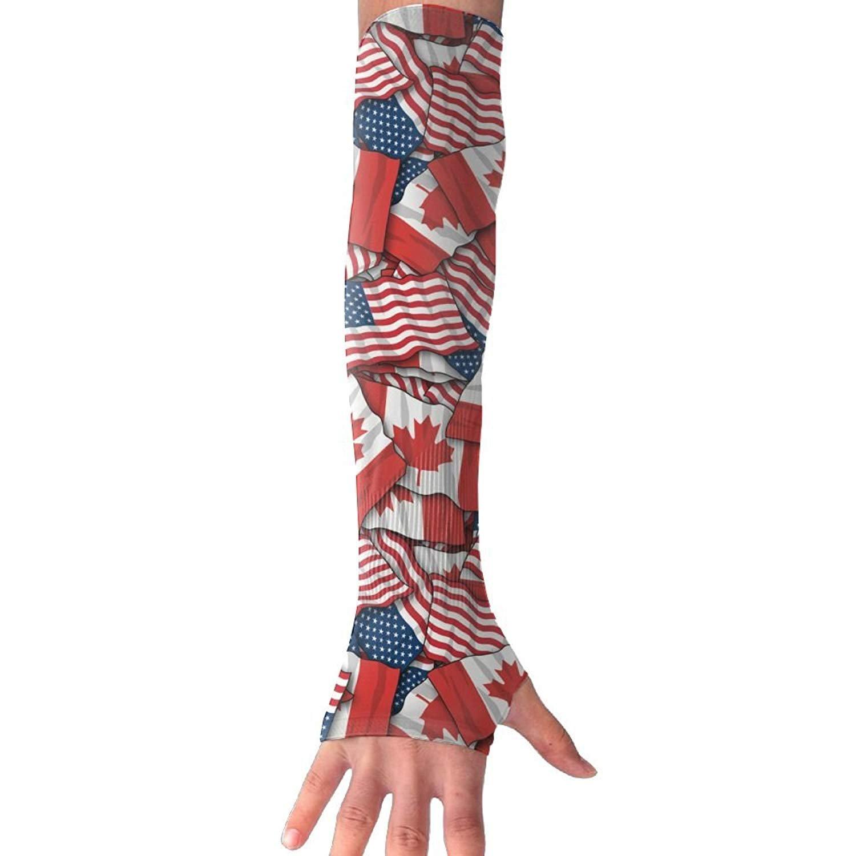 Unisex Canadian American Flag Sense Ice Outdoor Travel Arm Warmer Long Sleeves Glove