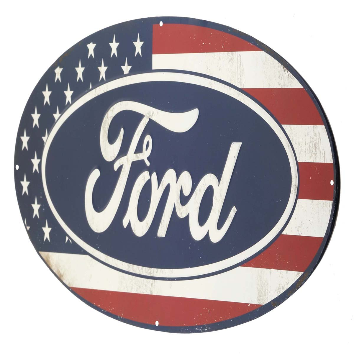 Amazon Open Road Brands Ford American Flag Oval Metal Sign