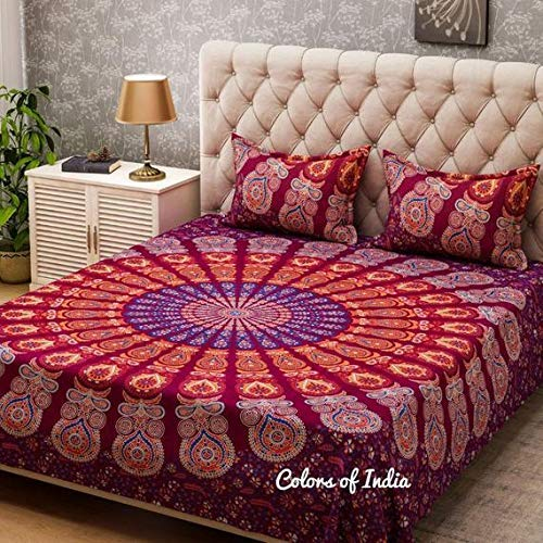 (Maroon Room Decor Bohemian Quilt Covers Queen Bedding FREE SHIPPING)