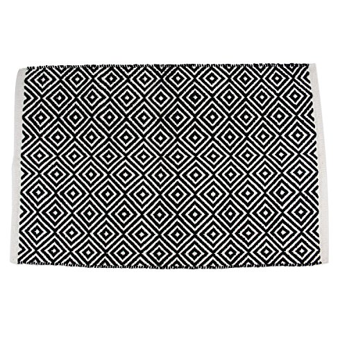 (DII Contemporary Reversible Indoor Area Rug/Mat, Machine Washable, Handmade from Cotton, Unique For Bedroom, Living Room, Kitchen, Nursery and more, 2 x 3' - Black Diamond (Color may vary) )