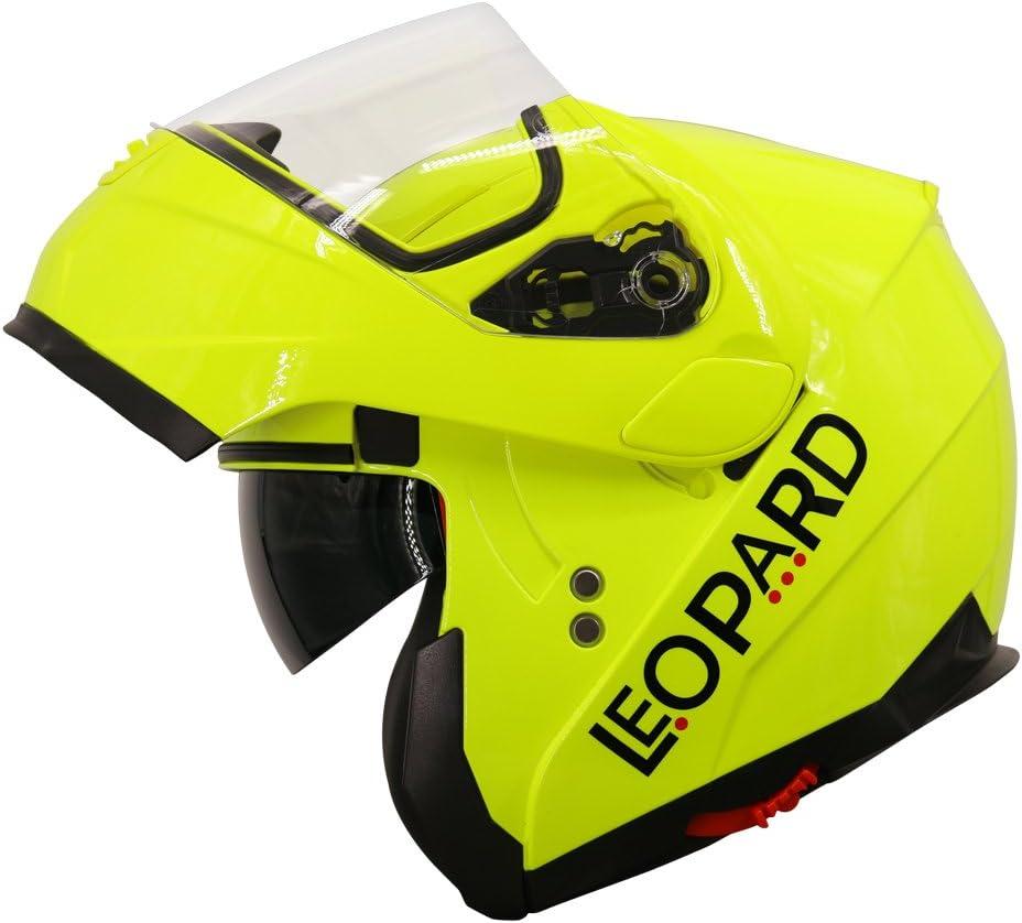 Leopard LEO-838 Klapphelm Integralhelm mit Doppelvisier Motorradhelm Damen und Herren ECE Genehmigt
