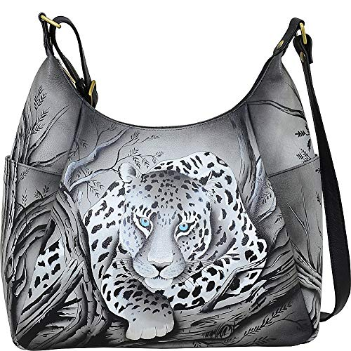 - Anna by Anuschka Hand Painted Leather Women's Large Multi Pocket HOBO, African Leopard