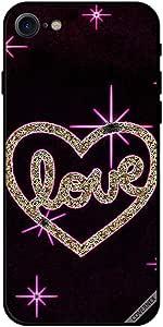 حافظة لهاتف ايفون 8 - مطبوع عليه قلب الحب حدود وردية