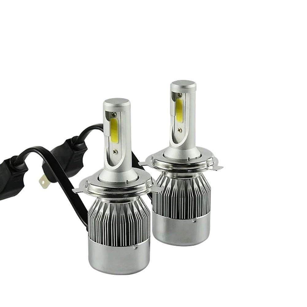 Coppia kit lampade luci LED auto moto fari COB H4 C6 7600LM 36W 6000K headlight luce bianca lampadine bulbi automobile