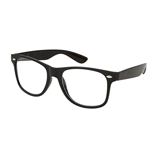 amazoncom retro nerd geek oversized black framed spring temple clear lens eye glasses clothing