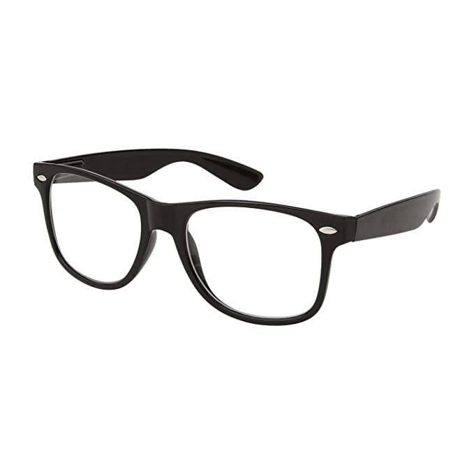1950s Men's Costumes RETRO NERD Geek Oversized BLACK Framed Spring Temple Clear Lens Eye Glasses $6.95 AT vintagedancer.com