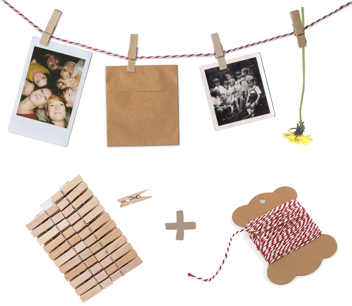 Bastelset f/ür Fotos f/ür Polaroids mit 10 m Bakers Twine Garn rot wei/ß /& 24 Klammern Fotowand oder Adventskalender Fotoseil Geschenke oder Hochzeitsspiel Fotoleine Bilder Postkarten