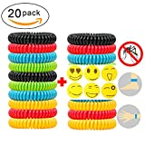 Natural Mosquito Repellent Bracelets 20 pack and 6 patch Waterproof Bug Insect Protection up to 300 Hours No Deet Pest Control for Kids Adults