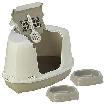 Arenero para gatos Cat Centre, diseño cerrado, esquinero, incluye 2 boles antideslizantes, 1 pala y 1 filtro