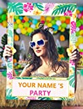 2 in 1 Luau Photo Booth Props Frame Party Supplies - Hawaiian Tropical Tiki Birthday Baby Shower Bridal Shower Wedding Decorations