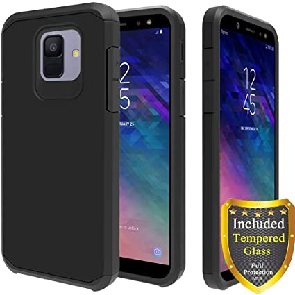 best service 0b139 c7160 Galaxy A6 Case, Full Cover Tempered Glass Screen Protector, ATUS Hybrid  Dual Layer Protective TPU Case for Samsung Galaxy A6 2018 (Black/Black)
