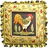 Deluxe Pillows Fancy Rooster Facing Right - 21 x 21 in. needlepoint pillow