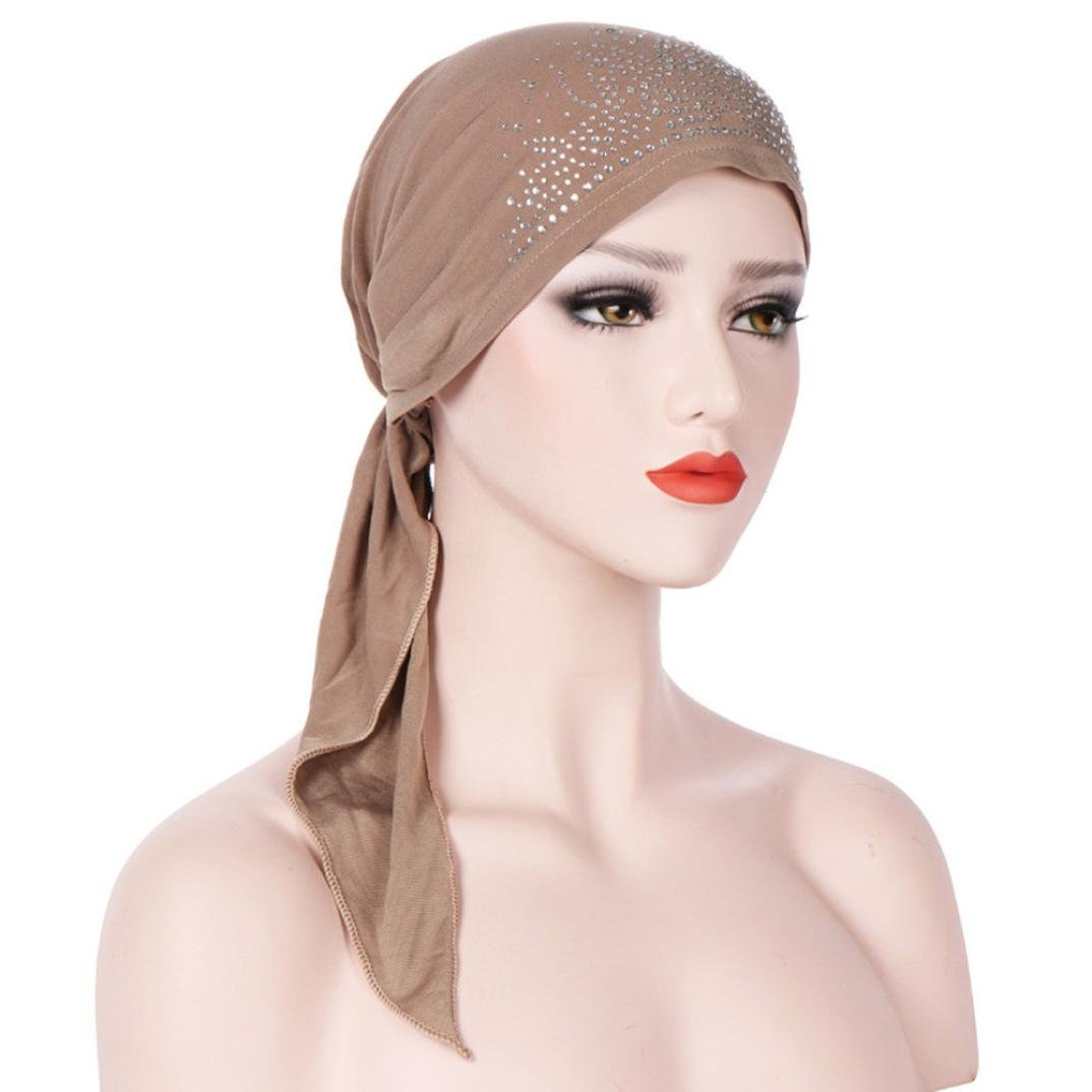4 Pack Womens Scarf Pre Tied Solid Pure Color Hat Beanie Turban Headwear for Muslim