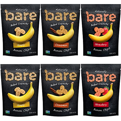 - Bare Baked Crunchy Banana Chips, Variety Pack, Gluten Free, 2.7 Ounce Bag, 6 Count