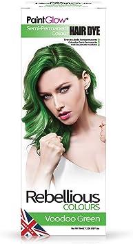 Paintglow - Rebellious Colours - Tinte de Pelo Semi-Permanente 70 ml (Voodoo Green) - 1 unidad