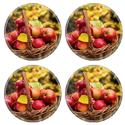 Liili Round Coasters Image ID 23116356 detail of red apples