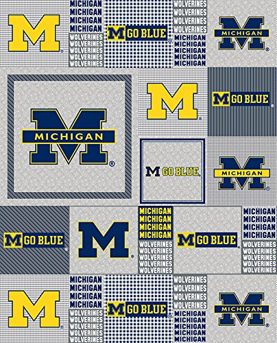 College Plaid University of Michigan Wolverines Fleece Fabric Print by the ()